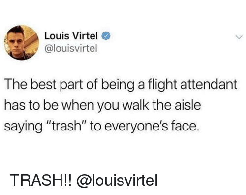 "Trash, Best, and Flight: Louis Virtel  @louisvirtel  The best part of being a flight attendant  has to be when you walk the aisle  saying ""trash"" to everyone's face. TRASH!! @louisvirtel"