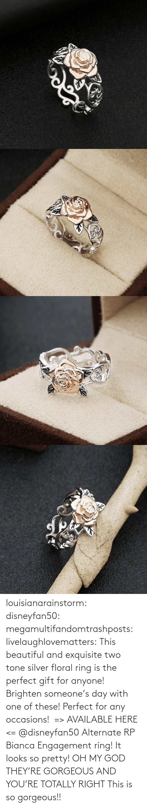 tone: louisianarainstorm: disneyfan50:  megamultifandomtrashposts:  livelaughlovematters:  This beautiful and exquisite two tone silver floral ring is the perfect gift for anyone! Brighten someone's day with one of these! Perfect for any occasions!  => AVAILABLE HERE <=    @disneyfan50 Alternate RP Bianca Engagement ring! It looks so pretty!  OH MY GOD THEY'RE GORGEOUS AND YOU'RE TOTALLY RIGHT    This is so gorgeous!!