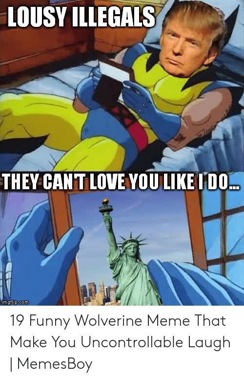 Memesboy: LOUSY ILLEGALS  THEY CANT LOVE YOU LIKE TDO...  imgtlip.com 19 Funny Wolverine Meme That Make You Uncontrollable Laugh | MemesBoy
