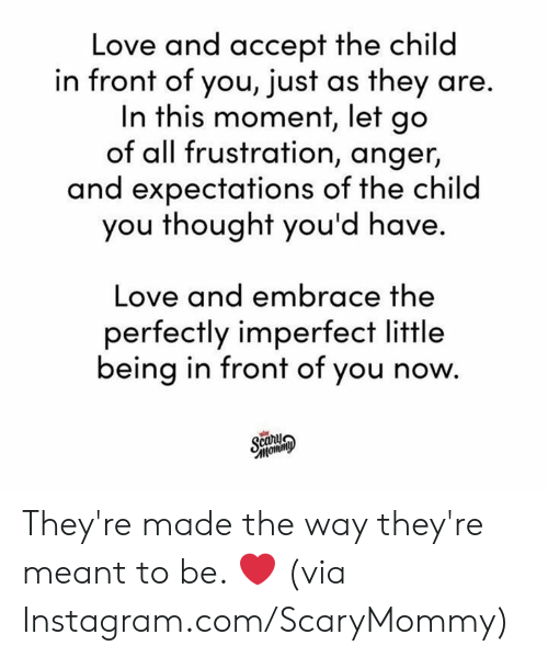 in this moment: Love and accept the child  in front of you, just as they are.  In this moment, let go  of all frustration, anger,  and expectations of the child  you thought you'd have.  Love and embrace the  perfectly imperfect little  being in front of you now.  Scary  тотто They're made the way they're meant to be. ❤️  (via Instagram.com/ScaryMommy)