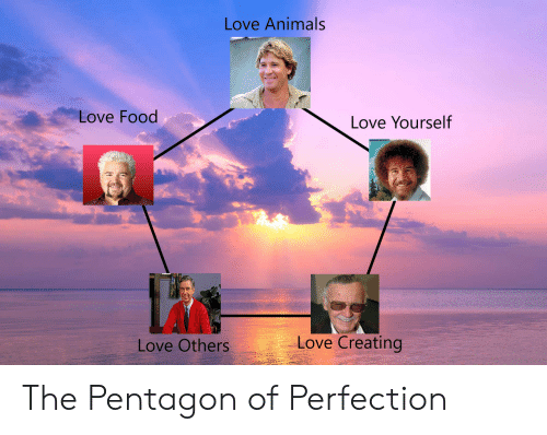 Love Animals: Love Animals  Love Food  Love Yourself  Love Creating  Love Others The Pentagon of Perfection