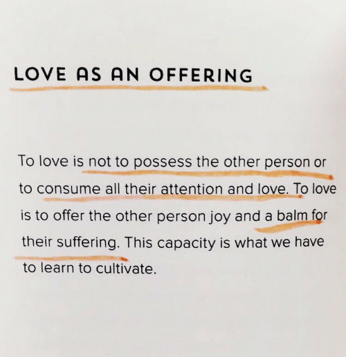 Love, Suffering, and Joy: LOVE AS AN OFFERING  To love is not to possess the other person or  to consume all their attention and love. To love  is to offer the other person joy and a balm for  their suffering. This capacity is what we have  to learn to cultivate.