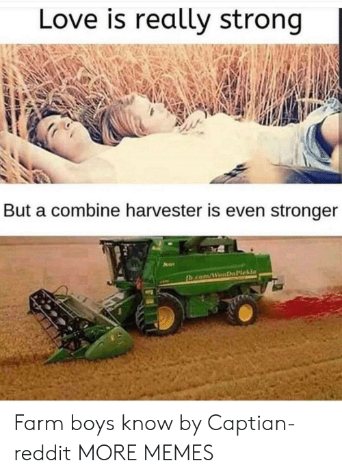 Dank, Love, and Memes: Love is really strong  But a combine harvester is even stronger Farm boys know by Captian-reddit MORE MEMES