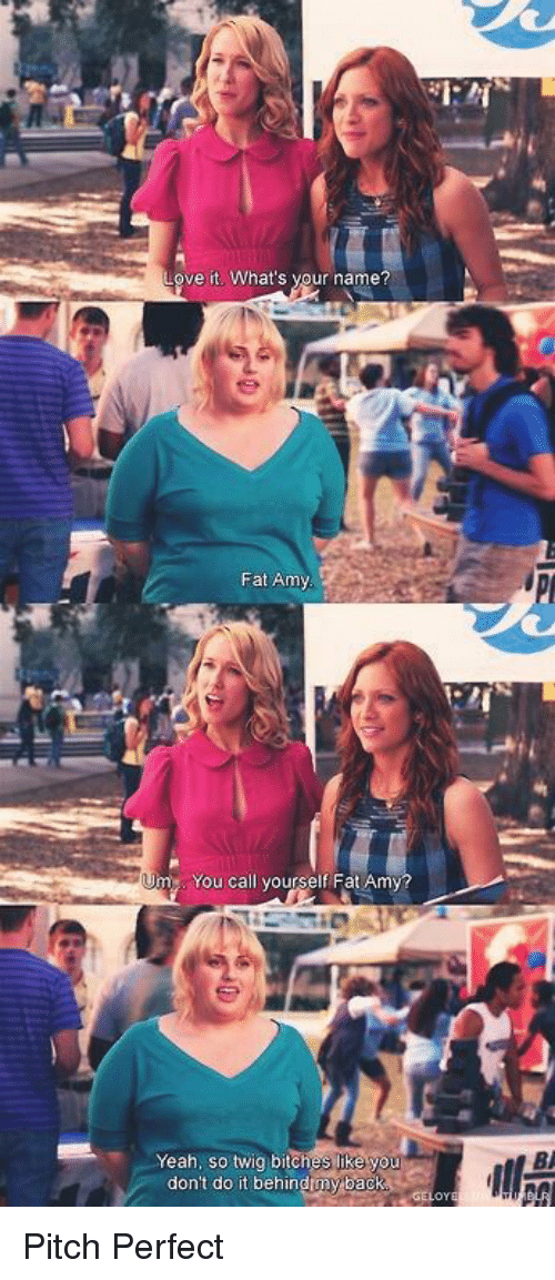 fat amy: Love it. What's your name?  Fat Army  me. You call yourself Fat Amy  Yeah, so twig bitches like  you  don't do it behind my bac Pitch Perfect