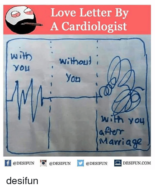 Love, Marriage, and Memes: Love Letter By  A Cardiologist  With  without  You  yon  with you  after  Marriage  @DESIFUN  @DESIFUN  @DESIFUN  DESIFUN.COM desifun