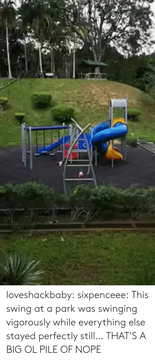 swinging: loveshackbaby:  sixpenceee:  This swing at a park was swinging vigorously while everything else stayed perfectly still…  THAT'S A BIG OL PILE OF NOPE