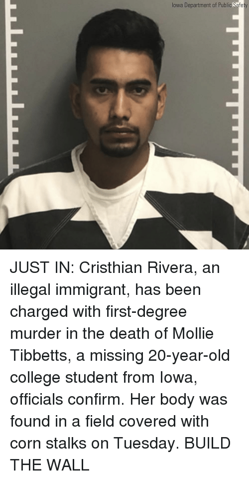 Iowa: lowa Department of Public Safe JUST IN: Cristhian Rivera, an illegal immigrant, has been charged with first-degree murder in the death of Mollie Tibbetts, a missing 20-year-old college student from Iowa, officials confirm. Her body was found in a field covered with corn stalks on Tuesday. BUILD THE WALL