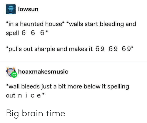 haunted house: lowsun  *in a haunted house* *walls start bleeding and  spell 6 6 6*  pulls out sharpie and makes it 69 69 69*  hoaxmakesmusic  *wall bleeds just a bit more below it spelling  out nice* Big brain time