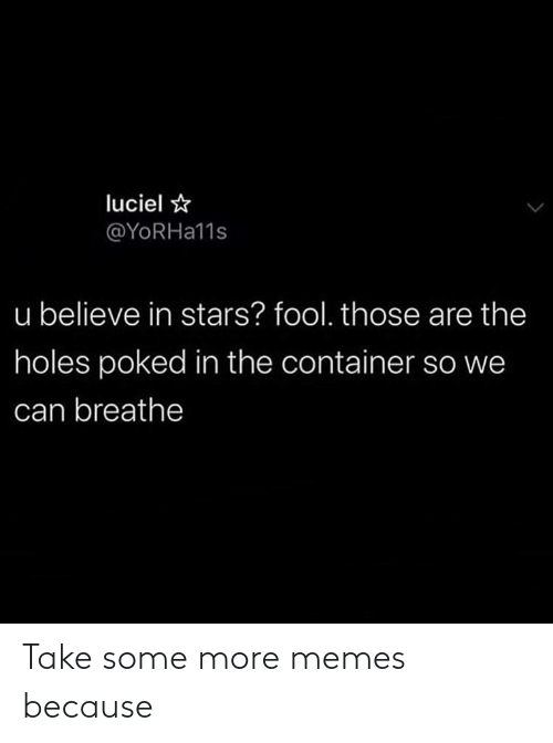 Stars: luciel ☆  @YORHA11S  u believe in stars? fool. those are the  holes poked in the container so we  can breathe Take some more memes because