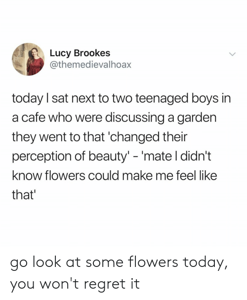 """Perception: Lucy Brookes  @themedievalhoax  today I sat next to two teenaged boys in  a cafe who were discussing a garden  they went to that 'changed their  perception of beauty"""" -'mate l didn't  know flowers could make me feel like  that go look at some flowers today, you won't regret it"""