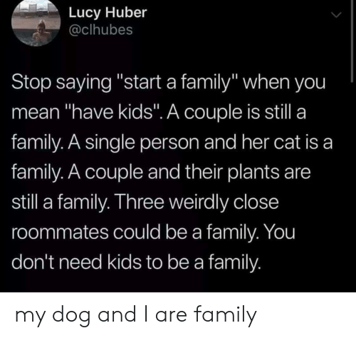 "Family, Kids, and Lucy: Lucy Huber  @clhubes  Stop saying ""start a family"" when you  mean ""have kids"". A couple is still a  family. A single person and her cat is a  family. A couple and their plants are  still a family. Three weirdly close  roommates could be a family. You  don't need kids to be a family my dog and I are family"