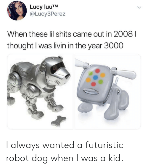 Lucy, Thought, and Dog: Lucy luuTNM  @Lucy3Perez  When these lil shits came out in 2008 I  thought I was livin in the year 3000 I always wanted a futuristic robot dog when I was a kid.