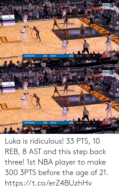 Age Of: Luka is ridiculous!  33 PTS, 10 REB, 8 AST and this step back three!   1st NBA player to make 300 3PTS before the age of 21. https://t.co/erZ4BUzhHv