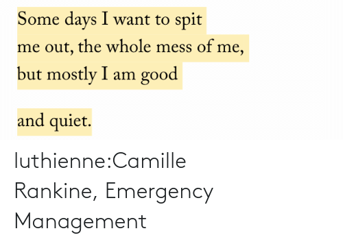 B: luthienne:Camille Rankine, Emergency Management