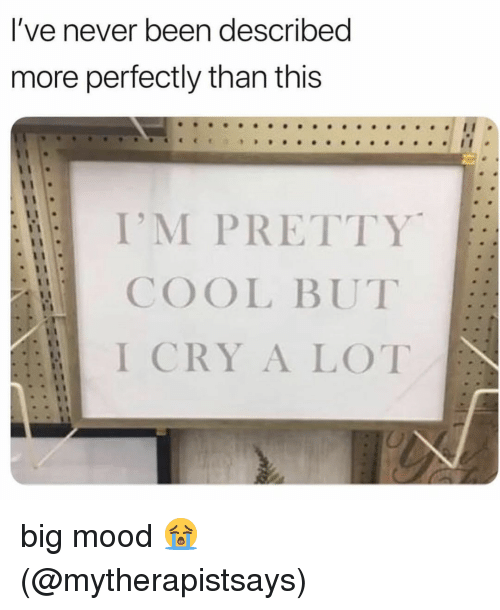 Big Mood: l've never been described  more perfectly than this  I'M PRETTY  COOL BUT  I CRY A LOT big mood 😭 (@mytherapistsays)