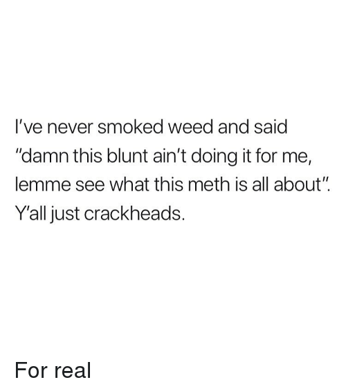 """Weed, Marijuana, and Never: l've never smoked weed and saic  """"damn this blunt ain't doing it for me,  lemme see what this meth is all about""""  Yall just crackheads. For real"""