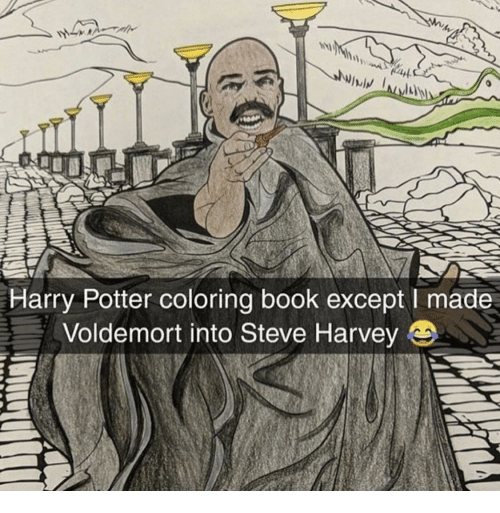 Coloring Book: lwiv  Harry Potter coloring book except I made  Voldemort into Steve Harvey e