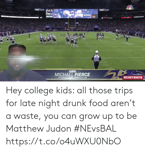 Waste: M&TBank  M&TBank  LIT  MEWSRADI0  NT 97  MICHAEL PIERCE  aCASEYBAKET6  PEF POSITIONRAN36TH 0UT OF 112  t o  AT Hey college kids: all those trips for late night drunk food aren't a waste, you can grow up to be Matthew Judon #NEvsBAL https://t.co/o4uWXU0NbO
