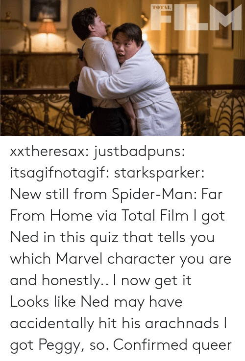 Spider, SpiderMan, and Tumblr: M  TOTAL xxtheresax: justbadpuns:   itsagifnotagif:  starksparker: New still from Spider-Man: Far From Home via Total Film I got Ned in this quiz that tells you which Marvel character you are and honestly.. I now get it  Looks like Ned may have accidentally hit his arachnads   I got Peggy, so. Confirmed queer