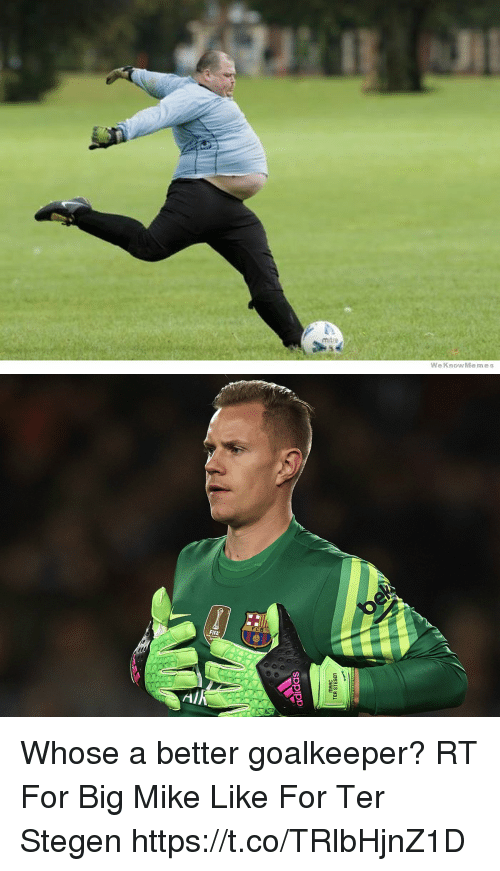 Weknowmemes: m tre  WeKnowMemes   adidas  MAAC  TER STEGen Whose a better goalkeeper?   RT For Big Mike Like For Ter Stegen https://t.co/TRlbHjnZ1D