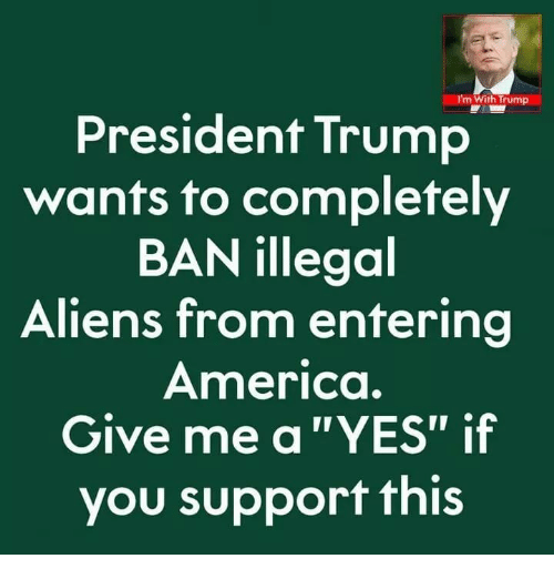 "America, Aliens, and Trump: m With Trump  President Trump  wants to completely  BAN illegoal  Aliens from entering  America.  Give me a""YES"" if  you support this"