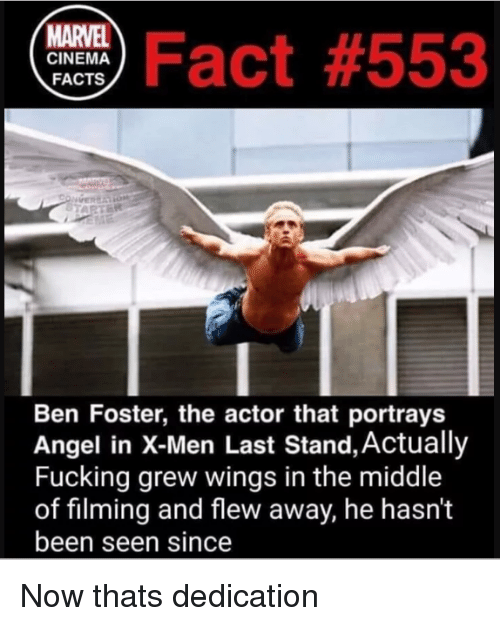 Facts, Fucking, and X-Men: ma Fact #553  MARVEL  CINEMA  FACTS  Ben Foster, the actor that portrays  Angel in X-Men Last Stand, Actually  Fucking grew wings in the middle  of filming and flew away, he hasn't  been seen since Now thats dedication