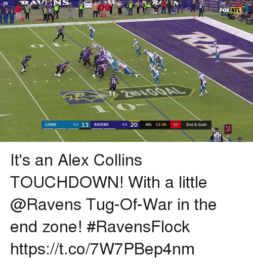 Memes, Goal, and Lions: Mac Sves Back  FoX  18  LIONS 6-5 13 RAVENS 65 20 4th 1  12:46 03 2nd & Goal  2 It's an Alex Collins TOUCHDOWN!  With a little @Ravens Tug-Of-War in the end zone! #RavensFlock https://t.co/7W7PBep4nm