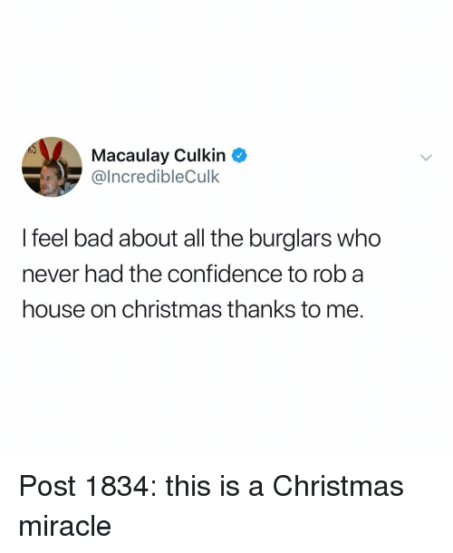 Macaulay Culkin: Macaulay Culkin  IncredibleCulk  I feel bad about all the burglars who  never had the confidence to rob a  house on christmas thanks to me. Post 1834: this is a Christmas miracle