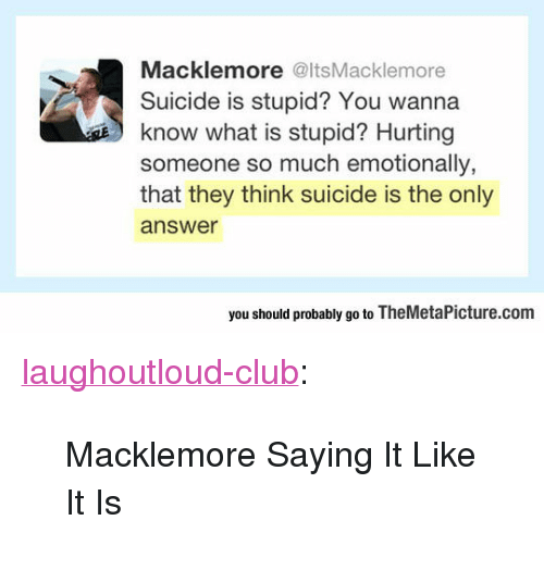 """Macklemore: Macklemore @ItsMacklemore  Suicide is stupid? You wanna  know what is stupid? Hurting  someone so much emotionally,  that they think suicide is the only  answer  s  you should probably go to TheMetaPicture.com <p><a href=""""http://laughoutloud-club.tumblr.com/post/166219686269/macklemore-saying-it-like-it-is"""" class=""""tumblr_blog"""">laughoutloud-club</a>:</p>  <blockquote><p>Macklemore Saying It Like It Is</p></blockquote>"""