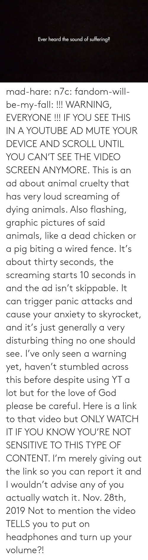 Link: mad-hare: n7c:  fandom-will-be-my-fall:   !!! WARNING, EVERYONE !!! IF YOU SEE THIS IN A YOUTUBE AD MUTE YOUR DEVICE AND SCROLL UNTIL YOU CAN'T SEE THE VIDEO SCREEN ANYMORE. This is an ad about animal cruelty that has very loud screaming of dying animals. Also flashing, graphic pictures of said animals, like a dead chicken or a pig biting a wired fence. It's about thirty seconds, the screaming starts 10 seconds in and the ad isn't skippable. It can trigger panic attacks and cause your anxiety to skyrocket, and it's just generally a very disturbing thing no one should see. I've only seen a warning yet, haven't stumbled across this before despite using YT a lot but for the love of God please be careful. Here is a link to that video but ONLY WATCH IT IF YOU KNOW YOU'RE NOT SENSITIVE TO THIS TYPE OF CONTENT. I'm merely giving out the link so you can report it and I wouldn't advise any of you actually watch it.   Nov. 28th, 2019  Not to mention the video TELLS you to put on headphones and turn up your volume?!
