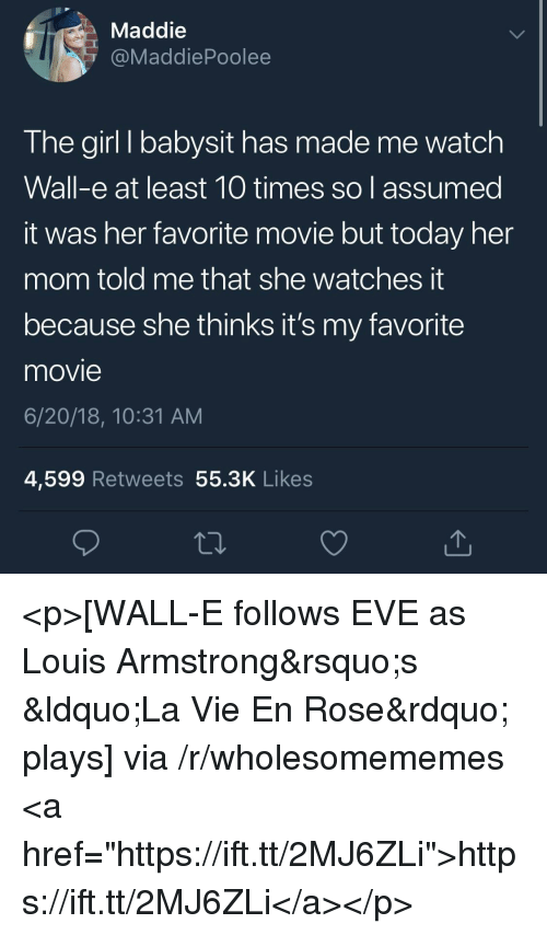 """Wall-E: Maddie  @MaddiePoolee  The girl I babysit has made me watch  Wall-e at least 10 times so assumed  it was her favorite movie but today her  mom told me that she watches t  because she thinks it's my favorite  movie  6/20/18, 10:31 AM  4,599 Retweets 55.3K Likes <p>[WALL-E follows EVE as Louis Armstrong&rsquo;s &ldquo;La Vie En Rose&rdquo; plays] via /r/wholesomememes <a href=""""https://ift.tt/2MJ6ZLi"""">https://ift.tt/2MJ6ZLi</a></p>"""