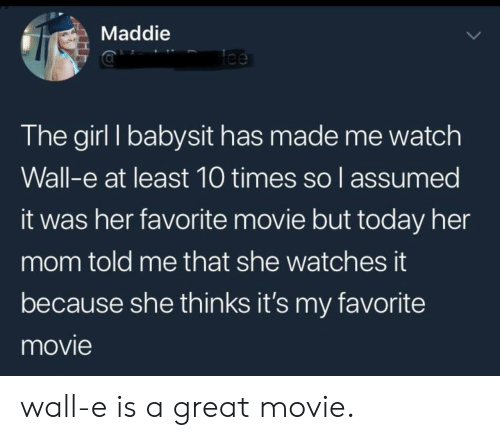 Girl, Movie, and Today: Maddie  Tee  The girl I babysit has made me watch  Wall-e at least 10 times so l assumed  it was her favorite movie but today her  mom told me that she watches it  because she thinks it's my favorite  movie wall-e is a great movie.