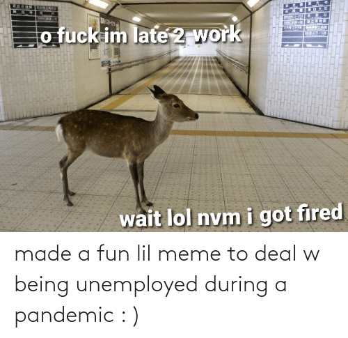 Unemployed: made a fun lil meme to deal w being unemployed during a pandemic : )