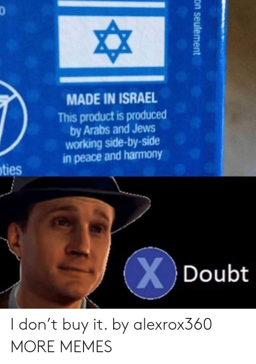 Dank, Memes, and Target: MADE IN ISRAEL  This product is produced  by Arabs and Jews  working side-by-side  in peace and harmony  ties  Doubt I don't buy it. by alexrox360 MORE MEMES