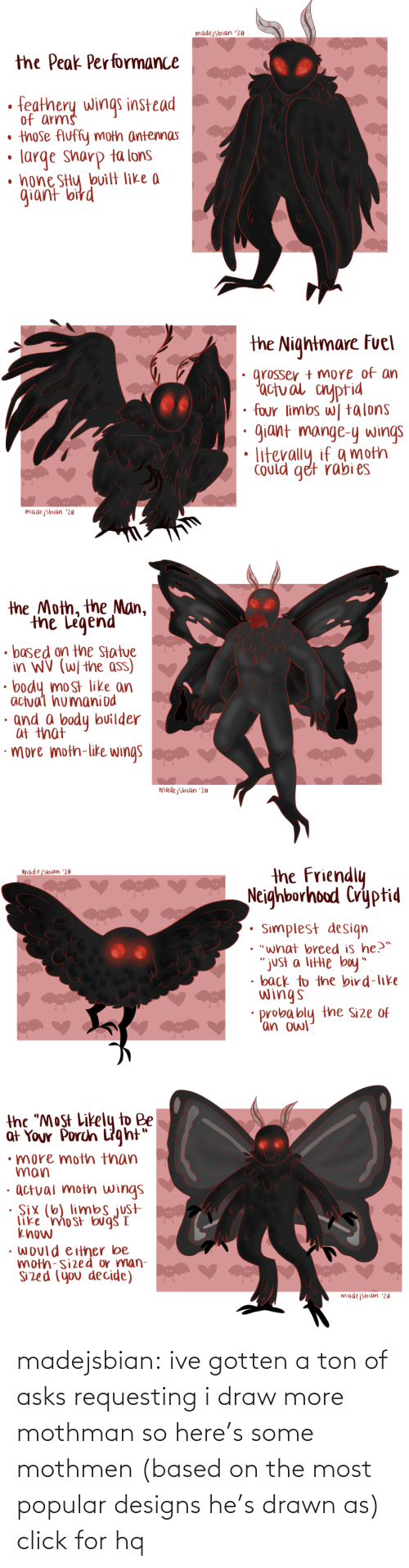 "Asks: madejsbian '20  the Peak Performance  feathery wings instead  of arms  • those Auffy moth antennas  large sharp ta lons  • hone SHy bvilt like a  giant bird   the Nightmare Fuel  grosser + more of an  'actual cnyptid  four limbs w| talons  giant mange-y wings  Could get rabi es  madejsbian '20   the Moth, the Man,  the Legend  • based on the Statue  in WV (W/ the ass)  body most like an  actual humaniod  · and a body builder  at that  ·more moth-like wings  madejsbian '20   the Friendly  Neighborhood Cryptid  madejsbian '20  Simplest design  • ""what breed is he?™  ""just a litte boy""  • back to the bird-like  wings  probably the Size of  'an owl   the ""Most Likely to Be  at Your Porch Light""  •more moth than  man  · actual moth wings  · Six (6) limbs just  like 'mo st bug I  know  • would either be  moth-sized or man-  Sized (you decide)  madejsbian '20 madejsbian: ive gotten a ton of asks requesting i draw more mothman so here's some mothmen (based on the most popular designs he's drawn as)