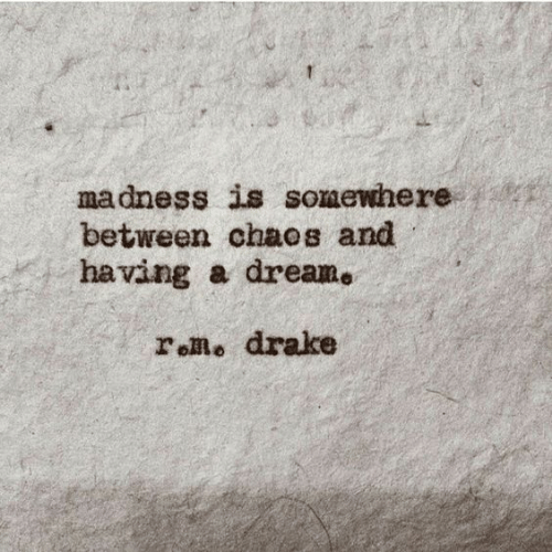chaos: madness is somewhere  between chaos and  having a dream.  roRo drake