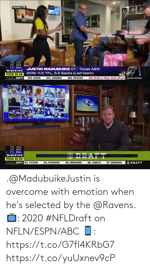 ABC: .@MadubuikeJustin is overcome with emotion when he's selected by the @Ravens.   📺: 2020 #NFLDraft on NFLN/ESPN/ABC 📱: https://t.co/G7fI4KRbG7 https://t.co/yuUxnev9cP