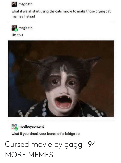 Bones: magbeth  what if we all start using the cats movie to make those crying cat  memes instead  magbeth  like this  mcelboycontent  what if you chuck your bones off a bridge op Cursed movie by gaggi_94 MORE MEMES