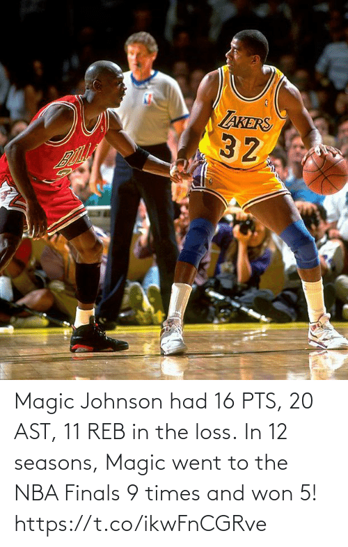 won: Magic Johnson had 16 PTS, 20 AST, 11 REB in the loss.   In 12 seasons, Magic went to the NBA Finals 9 times and won 5! https://t.co/ikwFnCGRve