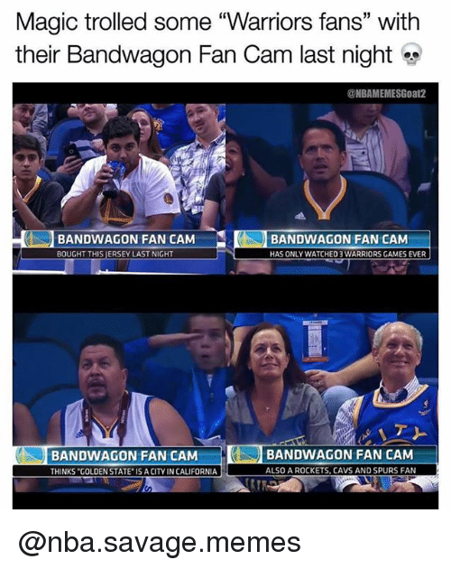 Magic Trolled Some Warriors Fans With Their Bandwagon Fan Cam Last