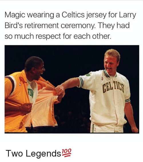Magicant: Magic wearing a Celtics jersey for Larry  Bird's retirement ceremony. They had  so much respect for each other.  ALID Two Legends💯
