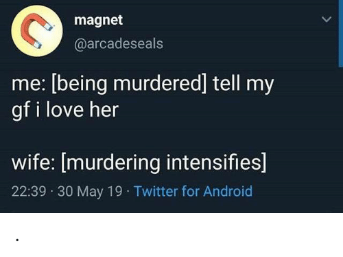 May 19: magnet  @arcadeseals  me: [being murdered] tell my  gf i love her  wife: [murdering intensifies]  22:39 30 May 19 Twitter for Android .