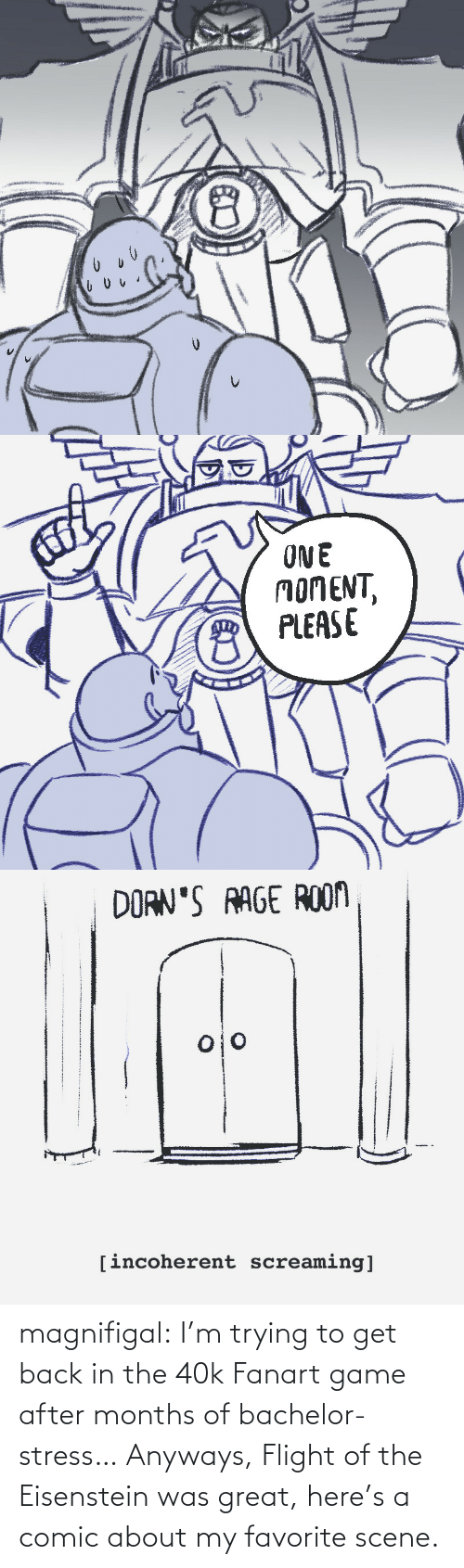 Flight: magnifigal:  I'm trying to get back in the 40k Fanart game after months of bachelor-stress… Anyways, Flight of the Eisenstein was great, here's a comic about my favorite scene.