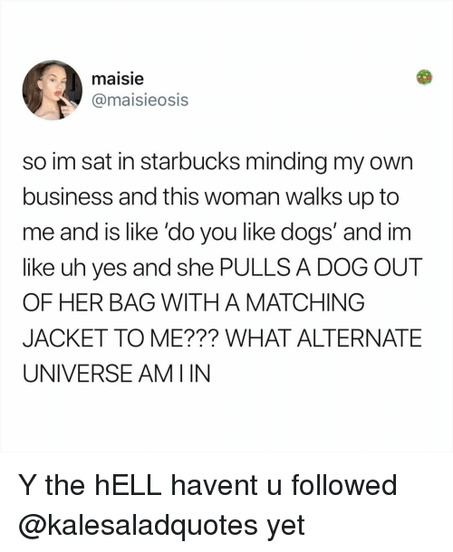 Maisie: maisie  @maisieosis  so im sat in starbucks minding my own  business and this woman walks up to  me and is like 'do you like dogs' and im  like uh yes and she PULLS A DOG OUT  OF HER BAG WITH A MATCHING  JACKET TO ME??? WHAT ALTERNATE  UNIVERSE AMIIN Y the hELL havent u followed @kalesaladquotes yet