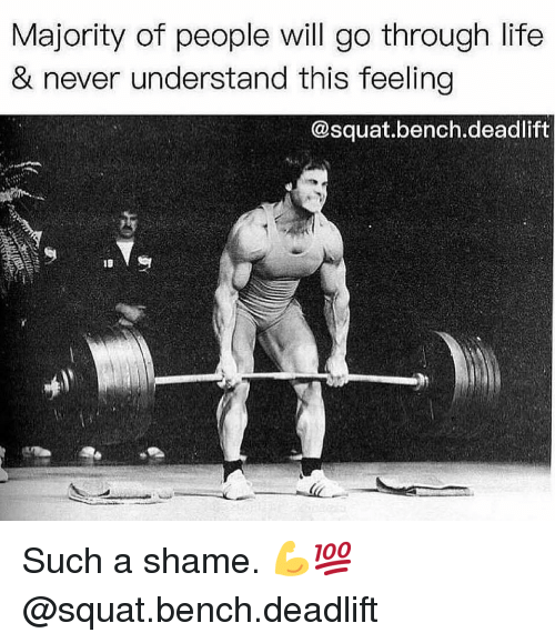 Gym, Life, and Squat: Majority of people will go through life  & never understand this feeling  @squat.bench.deadlift Such a shame. 💪💯 @squat.bench.deadlift