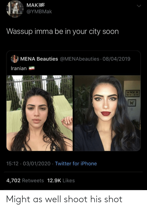 Iphone 4: MAK  @ΥΜΒΜak  Wassup imma be in your city soon  MENA Beauties @MENAbeauties · 08/04/2019  Iranian  15:12 · 03/01/2020 · Twitter for iPhone  4,702 Retweets 12.9K Likes Might as well shoot his shot