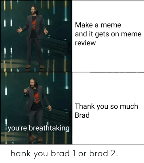 Meme, Thank You, and Make A: Make a meme  and it gets on meme  review  Thank you so much  Brad  you're breathtaking Thank you brad 1 or brad 2.