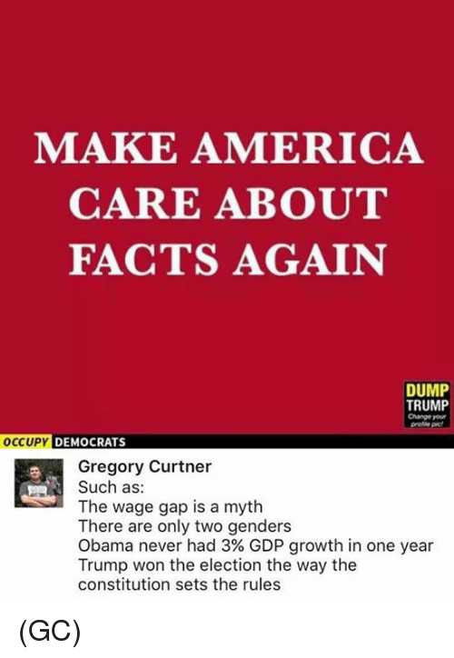 Wonned: MAKE AMERICA  CARE ABOUT  FACTS AGAIN  DUMP  TRUMP  Change your  DEMOCRATS  Gregory Curtner  Such as:  The wage gap is a myth  There are only two genders  Obama never had 3% GDP growth in one year  Trump won the election the way the  constitution sets the rules (GC)