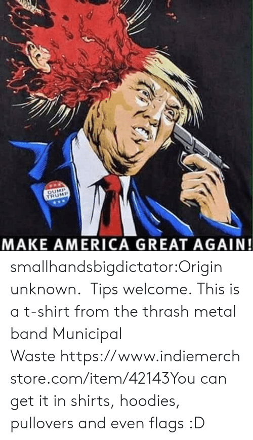 America, Tumblr, and Blog: MAKE AMERICA GREAT AGAIN! smallhandsbigdictator:Origin unknown. Tips welcome. This is a t-shirt from the thrash metal band Municipal Wastehttps://www.indiemerchstore.com/item/42143You can get it in shirts, hoodies, pullovers and even flags :D