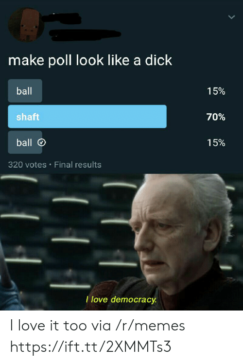 Love, Memes, and Dick: make poll look like a dick  ball  15%  shaft  70%  ball  15%  320 votes Final results  I love democracy I love it too via /r/memes https://ift.tt/2XMMTs3